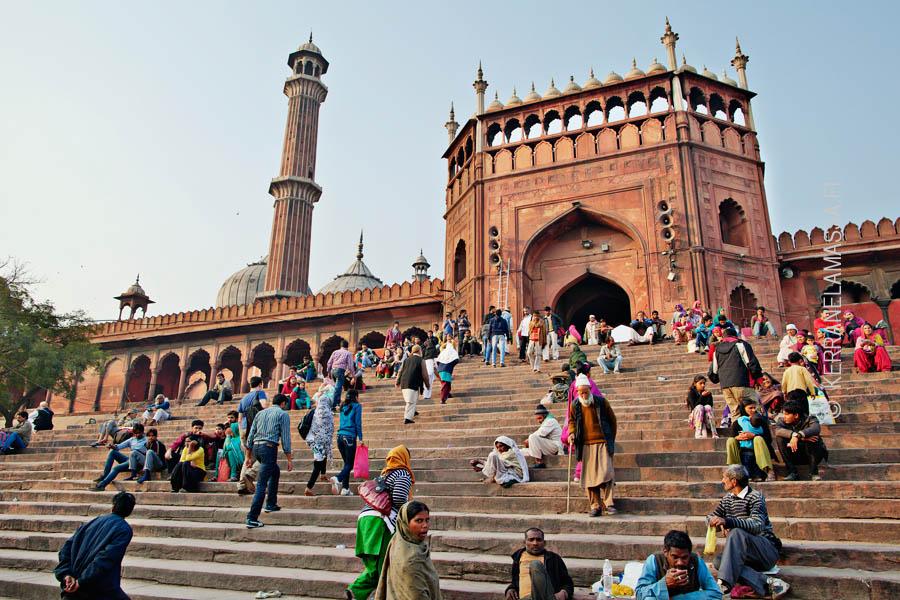 Jama Masjid -moskeija Delhissä.