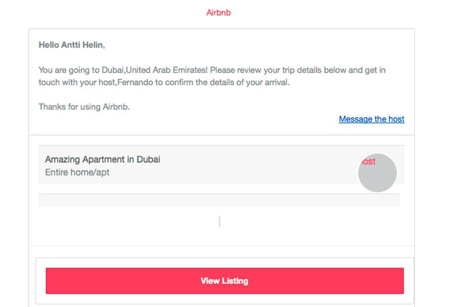 Huijausvahvistus näytti ensisilmäyksellä Airbnb:n lähettämältä.
