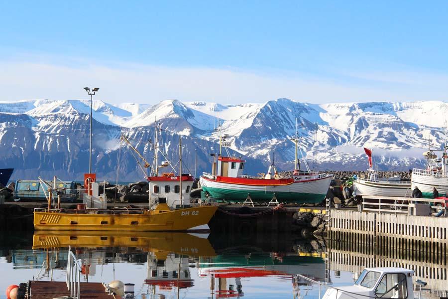 Islannin valaspääkaupunki Husavik sijaitsee kauniilla paikalla meren ja lumihuippuisten vuorten välissä. Kuva VisitHusavik, Flickr CC