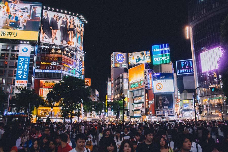 Shibuyan risteys Tokiossa on maailman vilkkain.