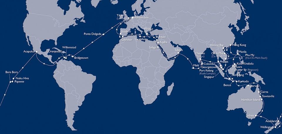 Tätä karttaa kelpaa ihailla: näin voi risteillä maailman ympäri!