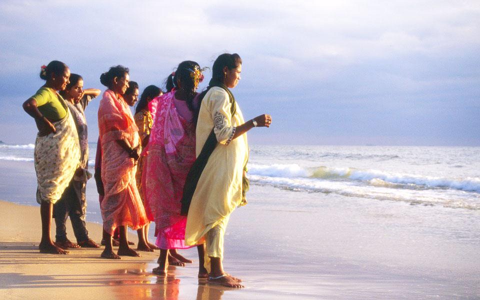 Goan rannoilta löytyy paikallista väriä. Kuva Clangueten rannalta.