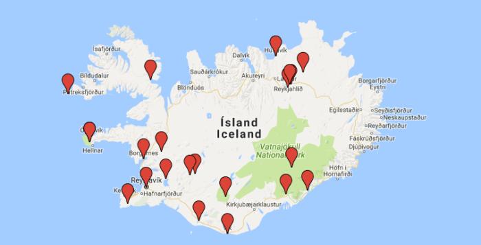 Islannin nähtävyydet kartalla