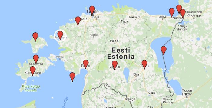 Viron nähtävyydet kartalla