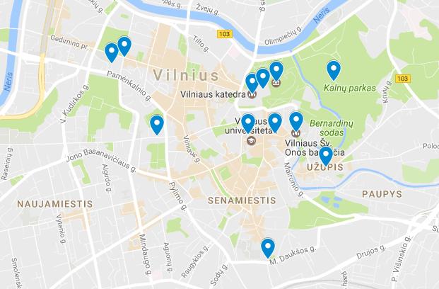 Liettuan nähtävyydet kartalla