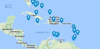 Karibian saaret kartalla