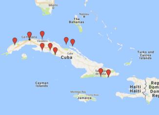 Kuuban nähtävyydet kartalla