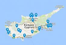 Kyproksen nähtävyydet kartalla