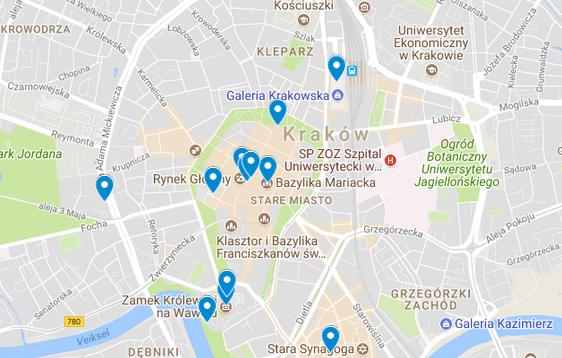 Krakovan nähtävyydet kartalla