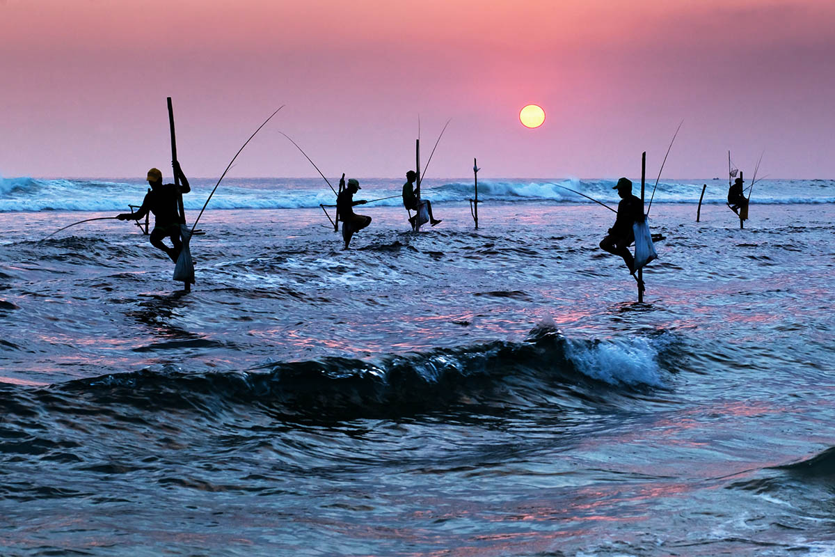 sri lanka kalastajat auringonlasku