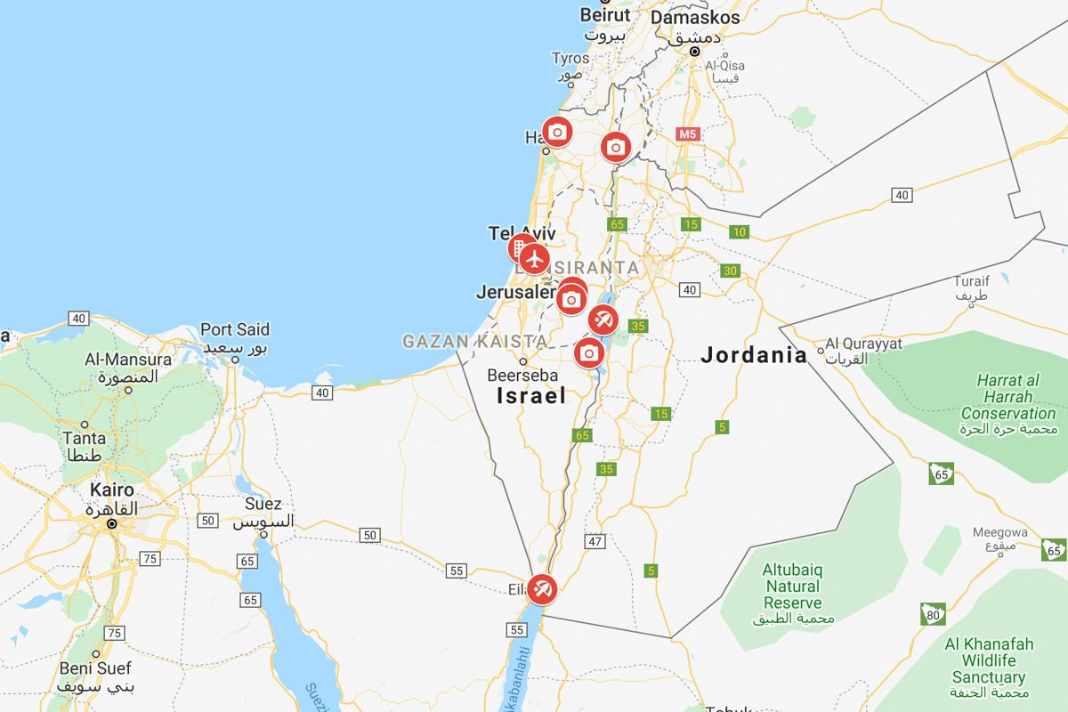 Israel Kartta Israelin Parhaat Kohteet Ja Nahtavyydet Kartalla