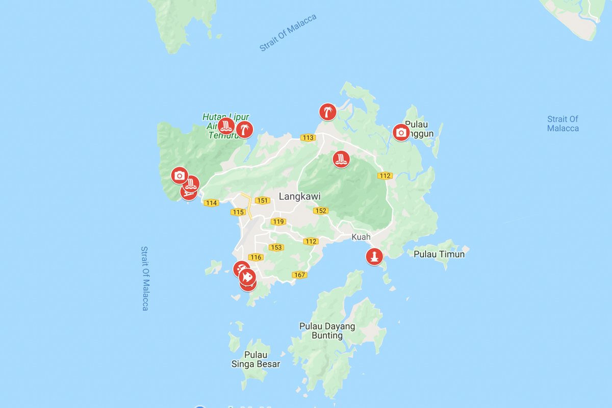 Langkawin Kartta Malesian Suosituimman Saaren Parhaat Paikat