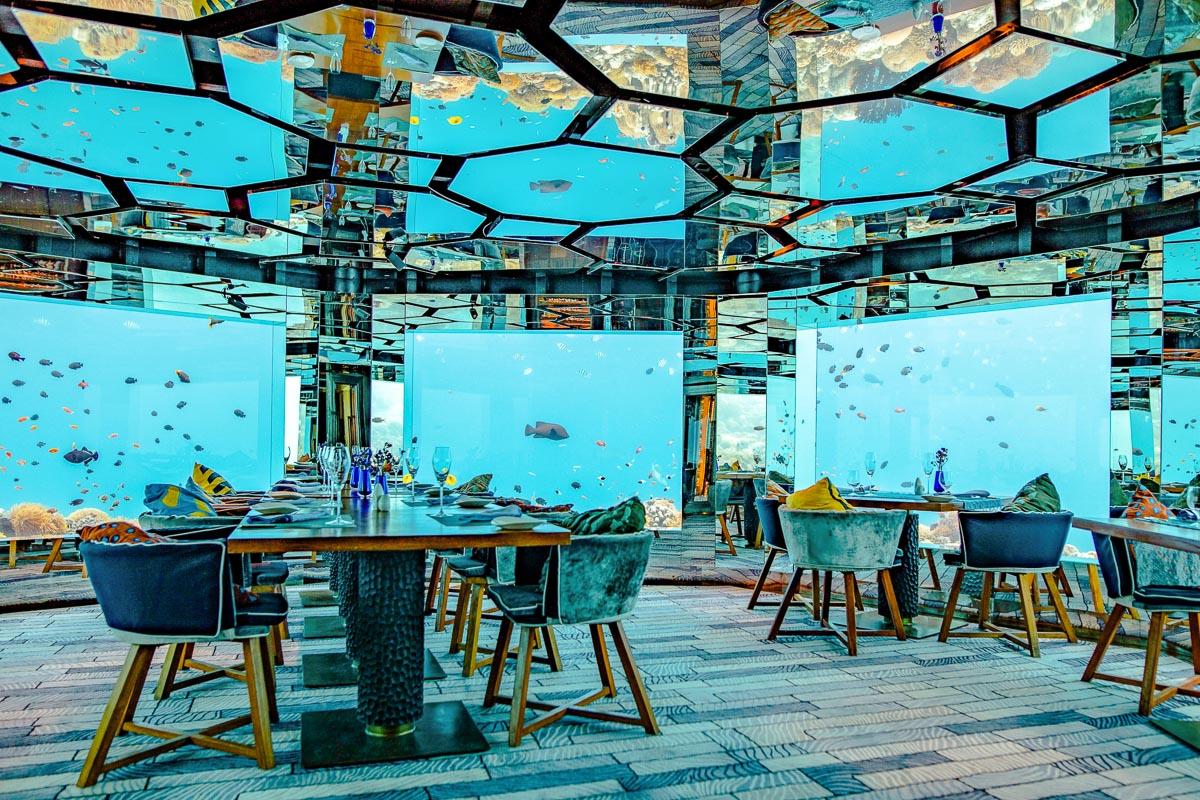 Anantara vedenalainen ravintola Malediivit